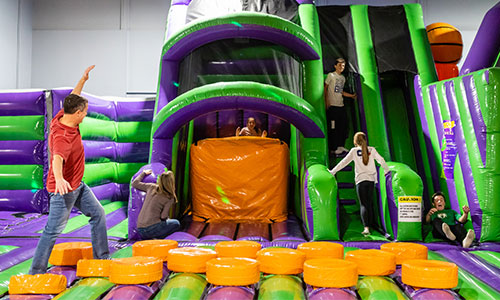 The inflatable jump park in Foxboro Massachusetts is fun for adults too!