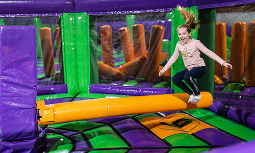 Watch out for the wipe out sweeper at the inflatable jump park in Foxboro Massachusetts