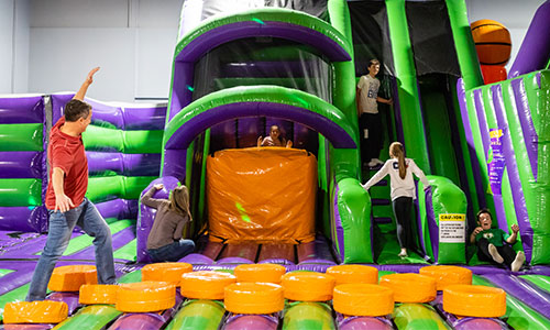 Step carefully through our bouncing Ninja obstacle course.