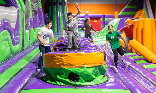 The inflatable jump park obstacle course in Woburn Mass.