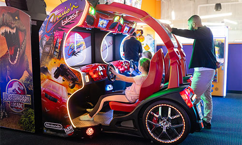 Try the dual interactive video auto racing games.