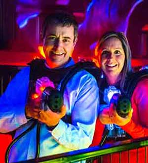 Adults enjoying a game of lasertag at the Airpark in Londonderry NH