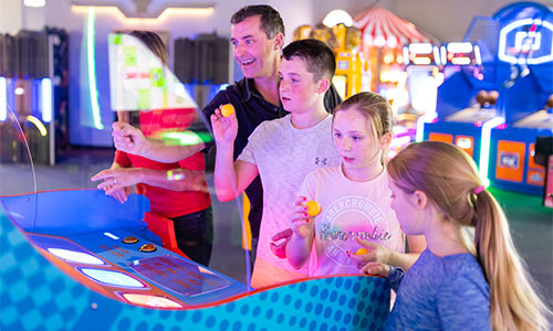 Enjoy family time playing skill games with your children.