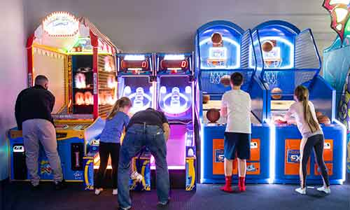 Test your skill on fun  games like Skee Ball and Basketball.
