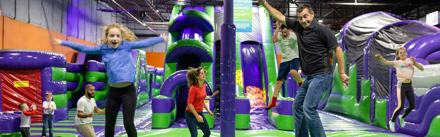 Welcome to high flying fun at the inflatable park at XtremeCraze in Londonderry NH